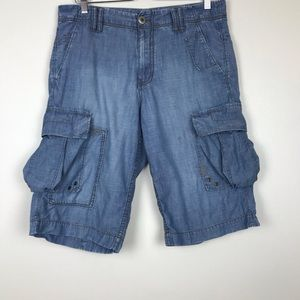 Armani Exchange Cargo Shorts Light Denim Chambray